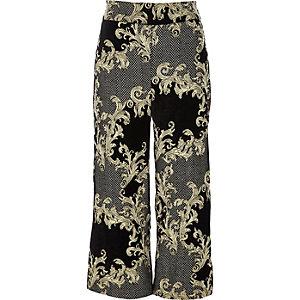 Jupe-culotte en jacquard noir et doré