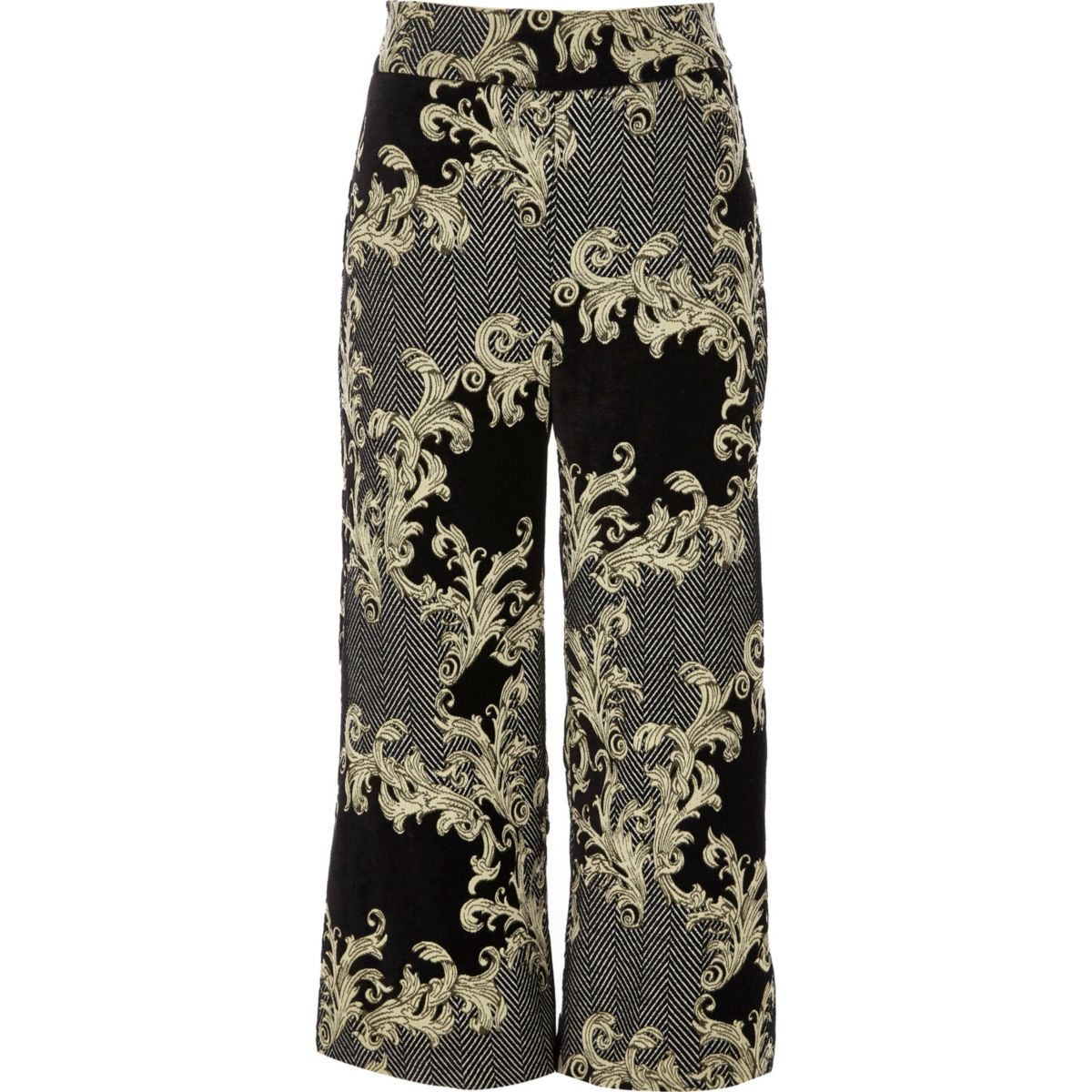 Black and gold jacquard culottes