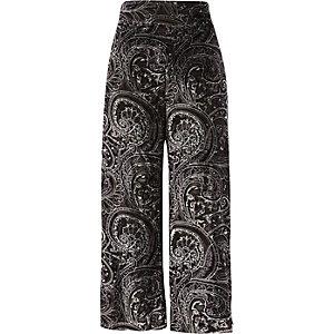 Zwarte fluwelen burnout broekrok met paisley-print