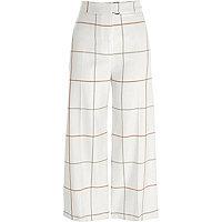 Jupe-culotte à carreaux crème avec ceinture