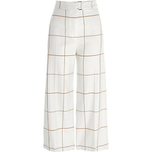 Cream window check belted culottes