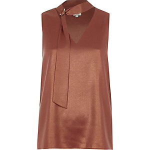 Copper foil D-ring neck sleeveless top