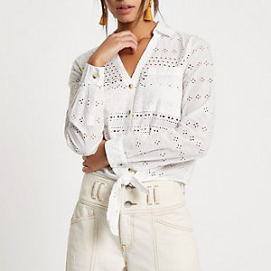 White broderie embroidered tie hem shirt