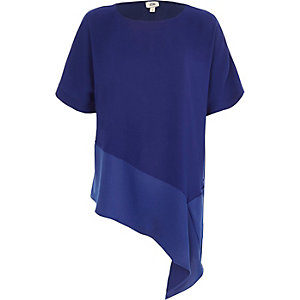 Blue asymmetric hem T-shirt