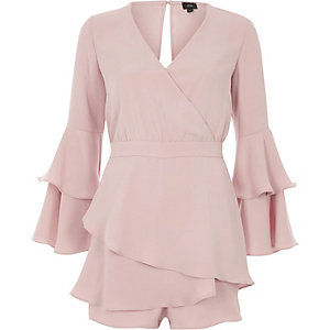 Light pink tiered frill skort playsuit