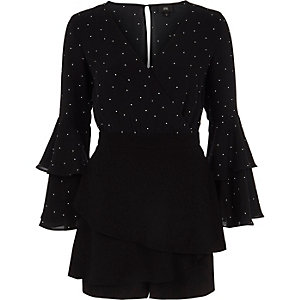 Black polka dot wrap frill sleeve playsuit
