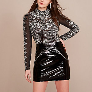 Grey Holly Fulton embellished bodysuit