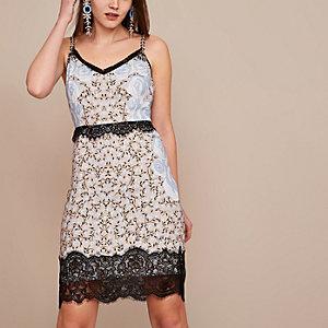 Blue Holly Fulton embellished slip dress