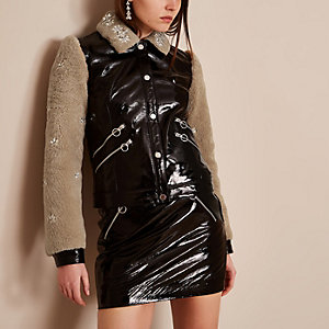 Black Holly Fulton vinyl leather fleece jacket