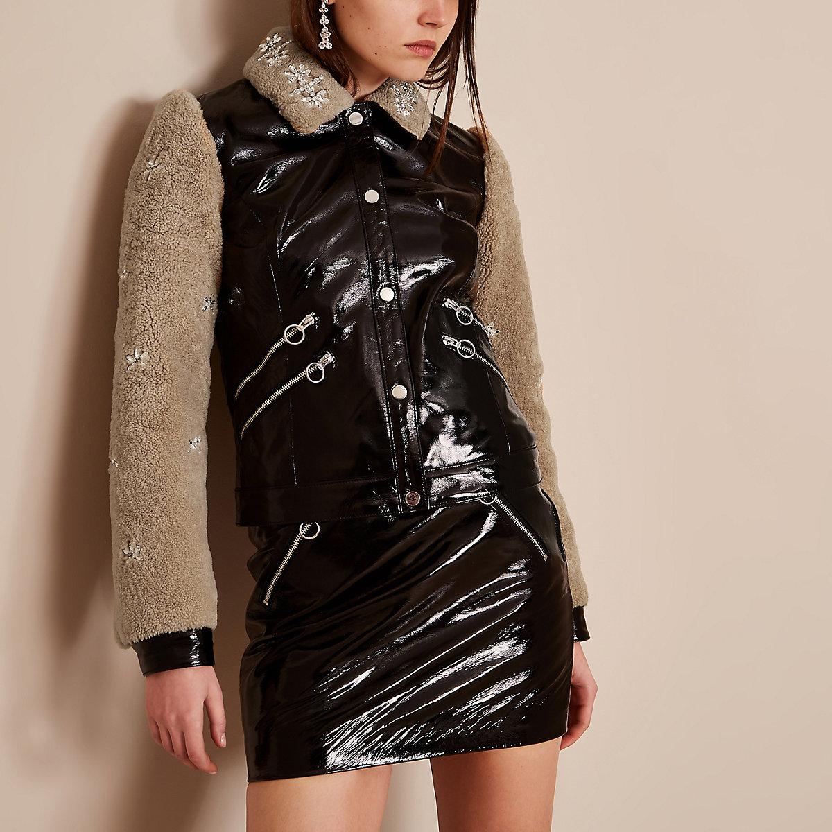 Black Holly Fulton vinyl leather fleece jacket