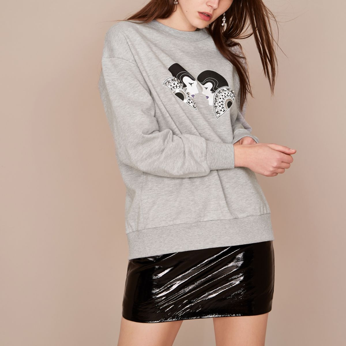 Grey Holly Fulton embellished sweatshirt