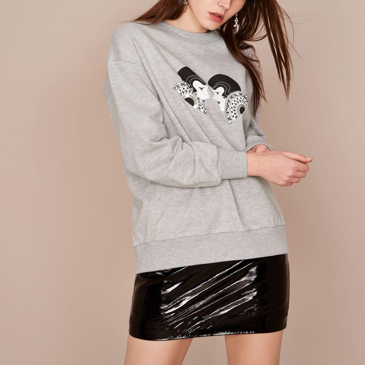 Holly Fulton - Grijs versierd sweatshirt