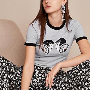 Holly Fulton – T-shirt imprimé double bleu clair