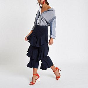 Jupe-culotte bleu marine à volants superposés sur le devant