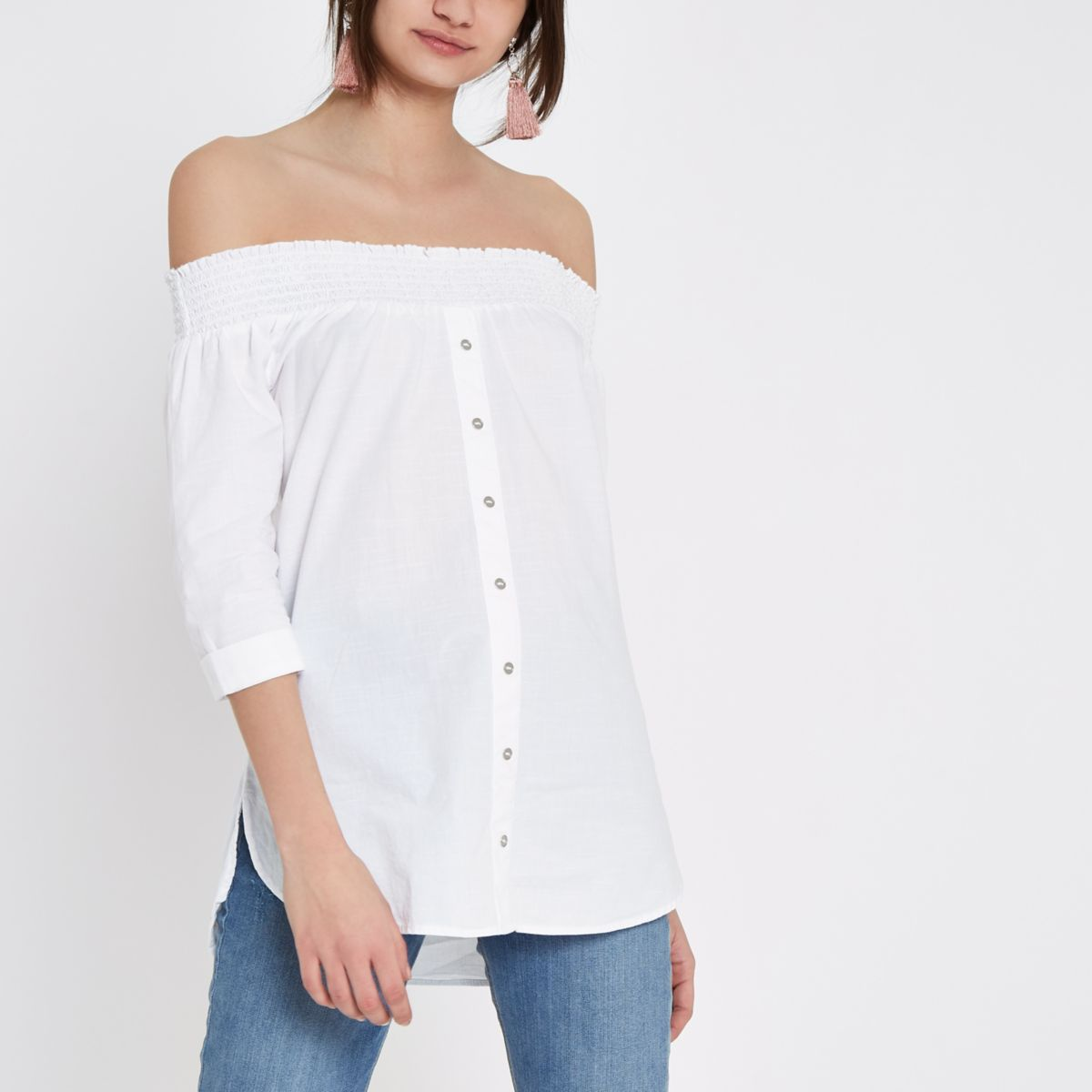 White Button Front Shirred Bardot Top by River Island
