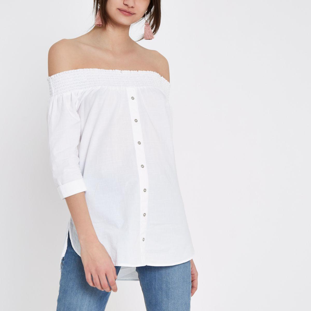White button front shirred bardot top