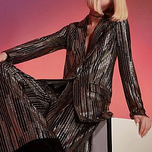 Gold RI Studio metallic stripe suit blazer