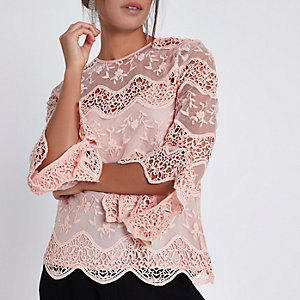 Light pink lace long sleeve top