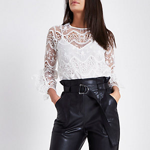 White lace long sleeve top