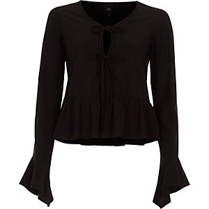 Black tie front frill hem long sleeve top
