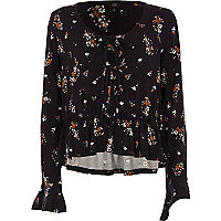 Black floral tie front frill long sleeve top