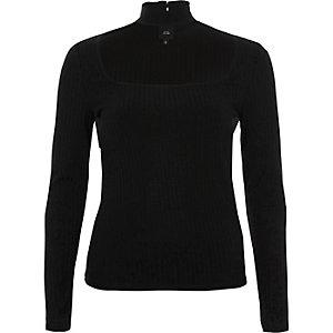 Black rib long sleeve choker neck top