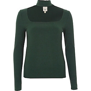 Green rib long sleeve choker top