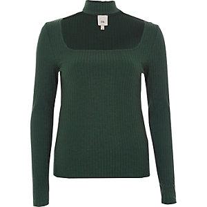 Green rib long sleeve choker top