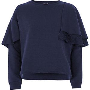 Navy lace frill sweatshirt