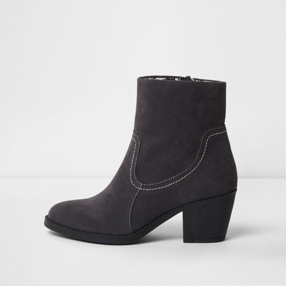 River Island Womens leather buckle block heel boot