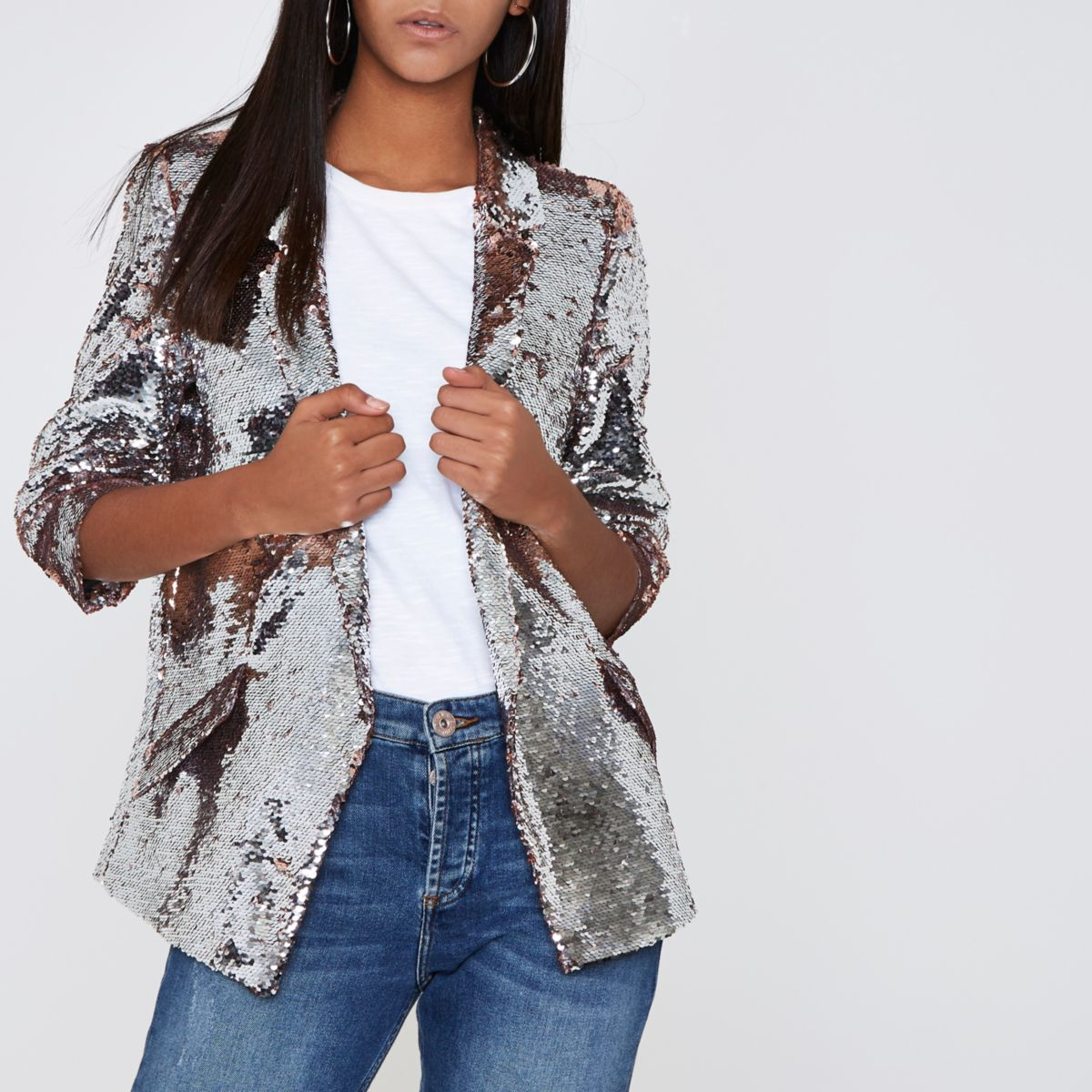 Silver and pink sequin embellished blazer