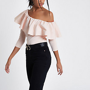 Light pink one shoulder frill top