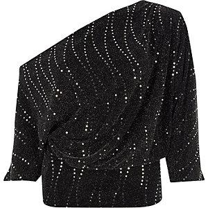 Black glitter one shoulder draped front top