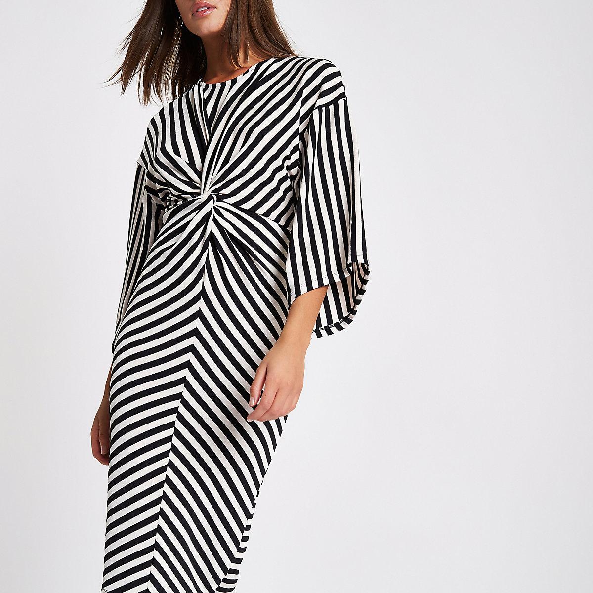 Black stripe twist front bodycon midi dress