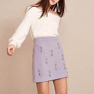 Light purple Holly Fulton boucle mini skirt