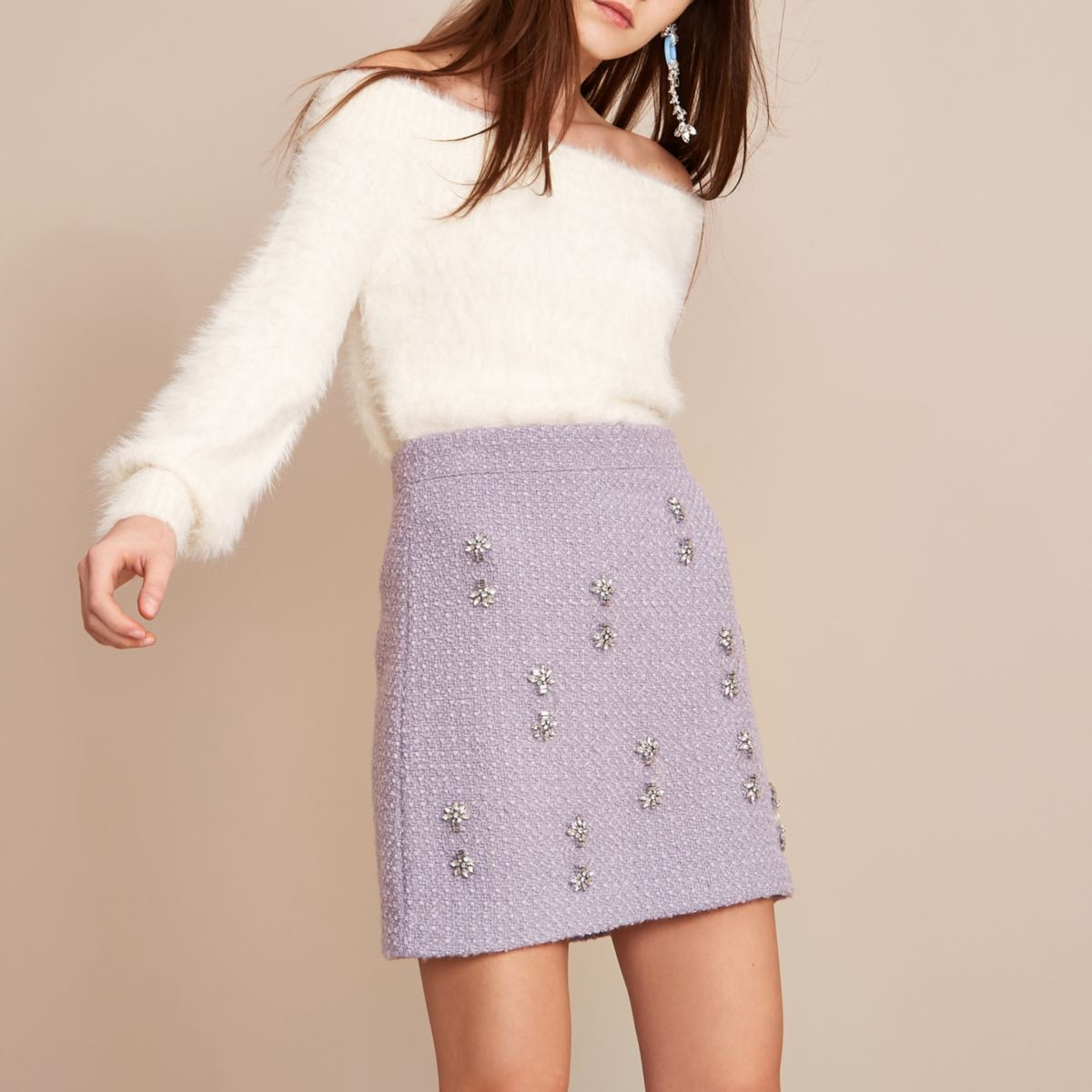Light purple Holly Fulton boucle mini skirt