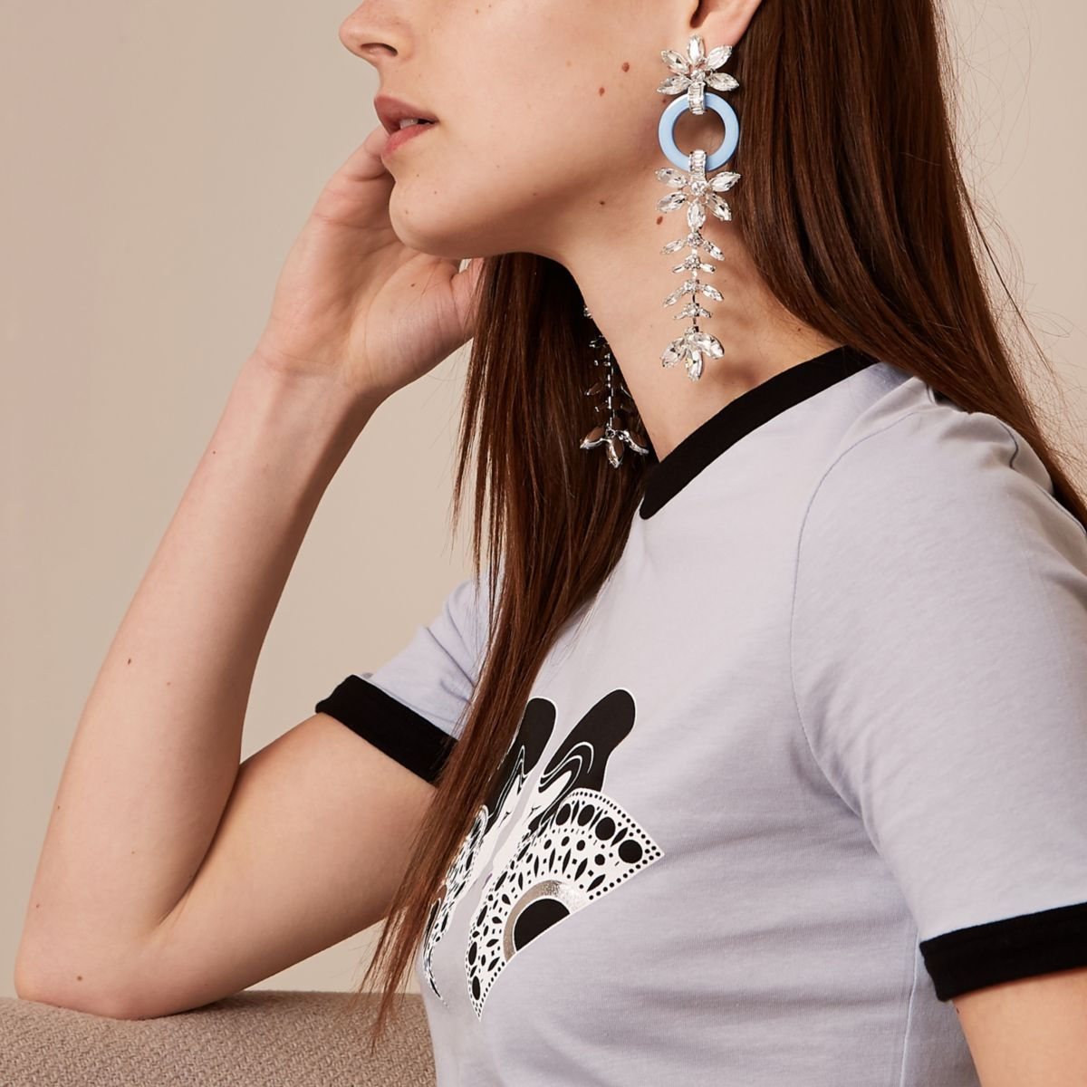 Blue Holly Fulton jewel clip on drop earrings