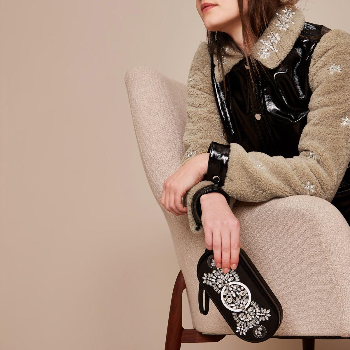 Black Holly Fulton embellished clutch bag