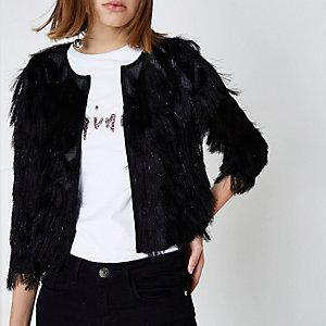 Schwarze, kurze Jacke mit Fransen