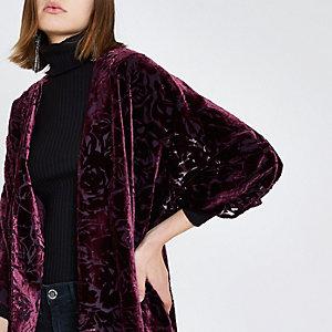 Donkerrode kimono met burnout-print