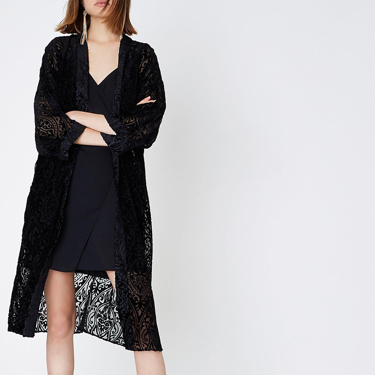 Kimono long noir effet usé