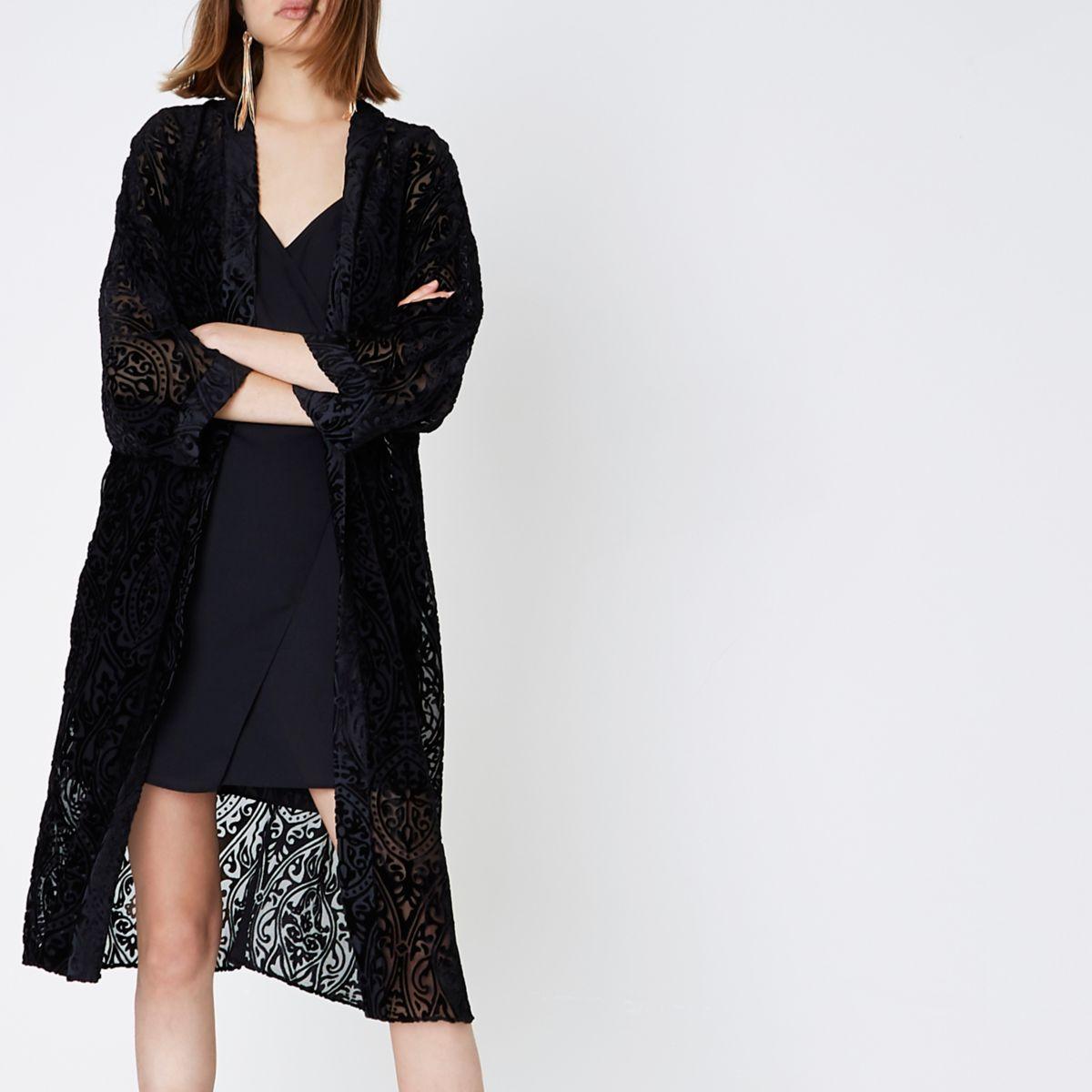 Schwarzer, langer Kimono mit Burnout-Muster