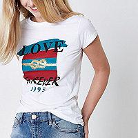 T-shirt imprimé «love forever» blanc avec nœud