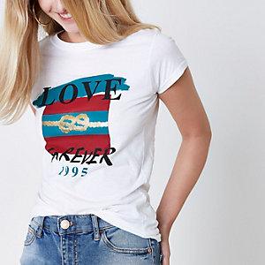 Wit T-shirt met 'Love forever'-print en knoop