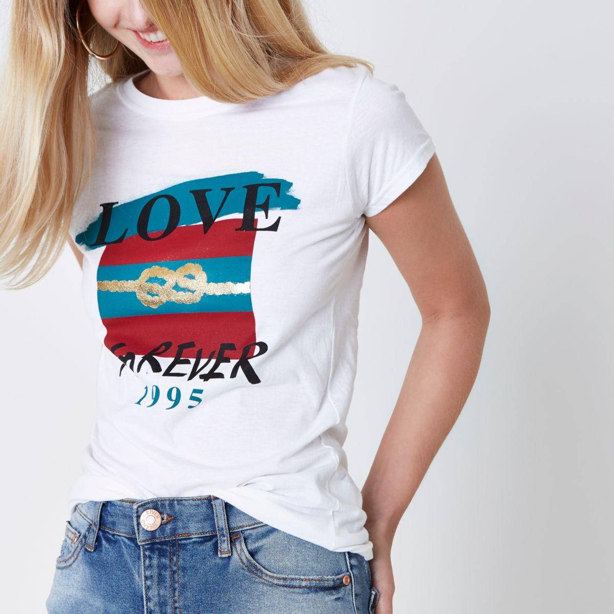 White 'love forever' knot print T-shirt