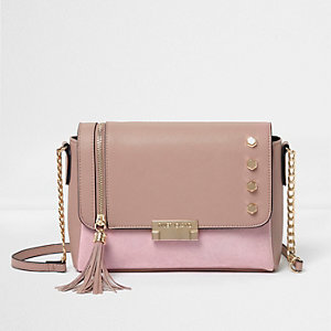 Pink studded tassel cross body bag