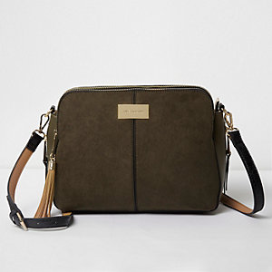 Khaki triple compartment cross body bag