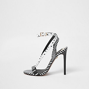 Black stripe mixed pattern strappy sandals