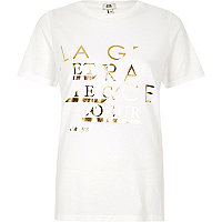 White 'la grace' foil print fitted T-shirt
