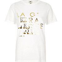 White 'la grace' foil print fitted T-shirt